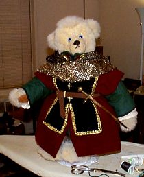"Bear of Harps in Chemise, Tunic, Overtunic, Tabard, and ""chain-mail"" hood -- final presentation"